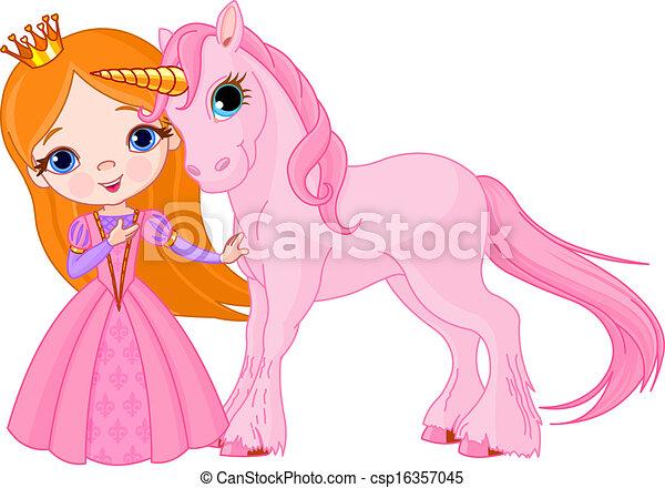 Beautiful princess and unicorn - csp16357045
