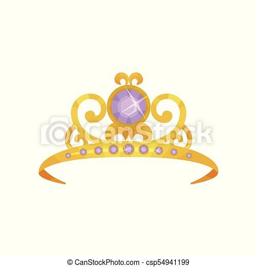 Beautiful Princess Crown Decorated With Round Purple Gemstones