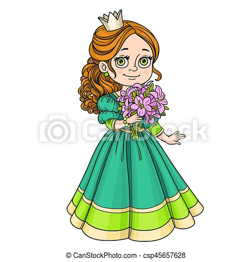Beautiful princess holding bouquet of pink lilies in hand isolated on white background - csp45657628