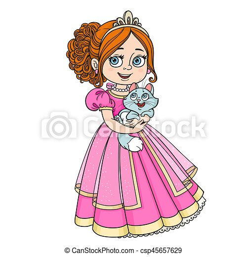 Beautiful princess holding kitten on hands isolated on white background - csp45657629
