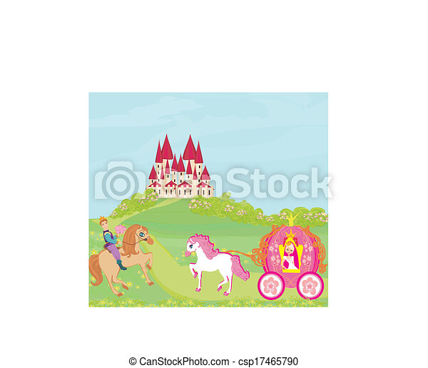 Beautiful princess in a carriage, Prince on horseback and fairy - csp17465790