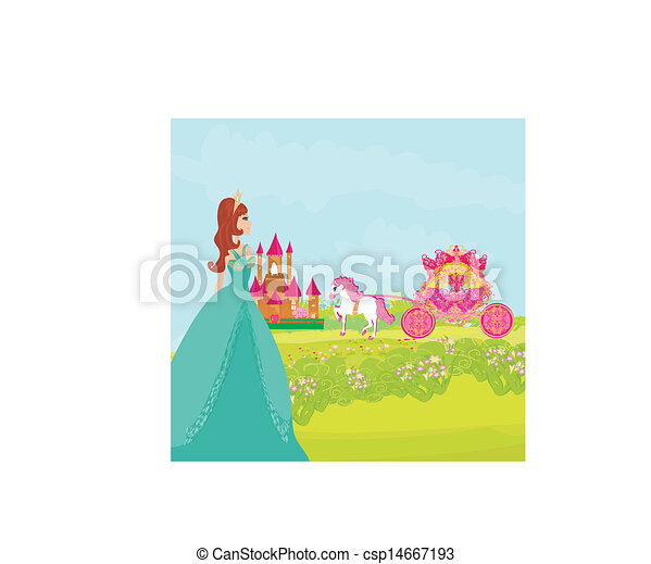 Beautiful princess on landscape. - csp14667193