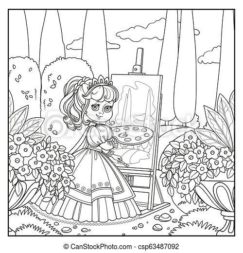 Beautiful princess with a palette, brush and easel draws in the park outlined picture for coloring book on white background - csp63487092