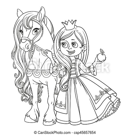 Beautiful princess with horse outlined picture for coloring book on white background - csp45657654