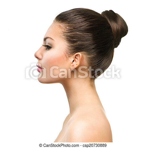 Beautiful Profile Face of Young Woman with Clean Fresh Skin - csp20730889