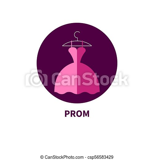 Beautiful prom dress, flat icon fashion clothes. vector illustration.