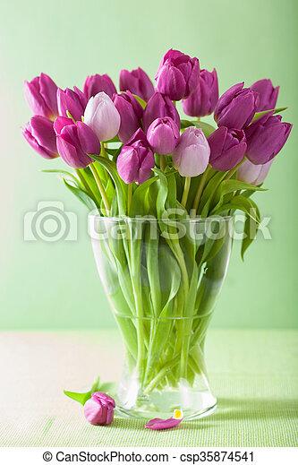 beautiful purple tulip flowers bouquet in vase - csp35874541