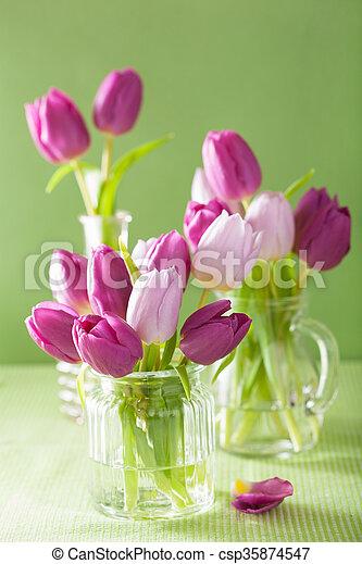 beautiful purple tulip flowers bouquet in vase - csp35874547
