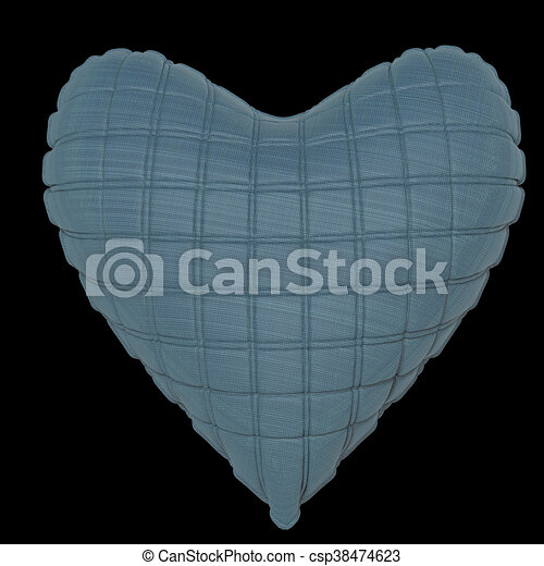 beautiful quilted glossy leather heart shaped pillow. Fashion handmade concept for love, romance, valentines day. rendering, isolated - csp38474623