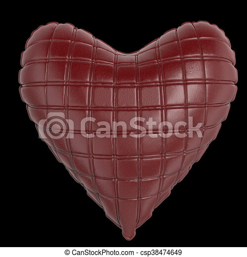 beautiful quilted glossy leather heart shaped pillow. Fashion handmade concept for love, romance, valentines day. rendering, isolated - csp38474649
