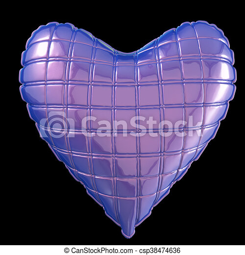 beautiful quilted glossy leather heart shaped pillow. Fashion handmade concept for love, romance, valentines day. rendering, isolated - csp38474636