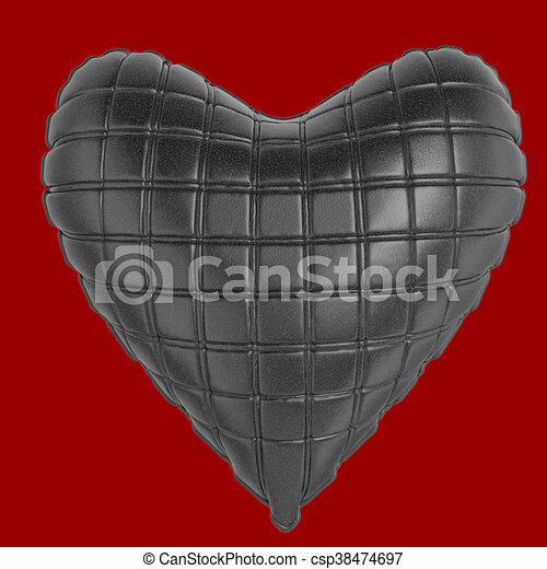 beautiful quilted glossy leather heart shaped pillow. Fashion handmade concept for love, romance, valentines day. rendering, isolated - csp38474697