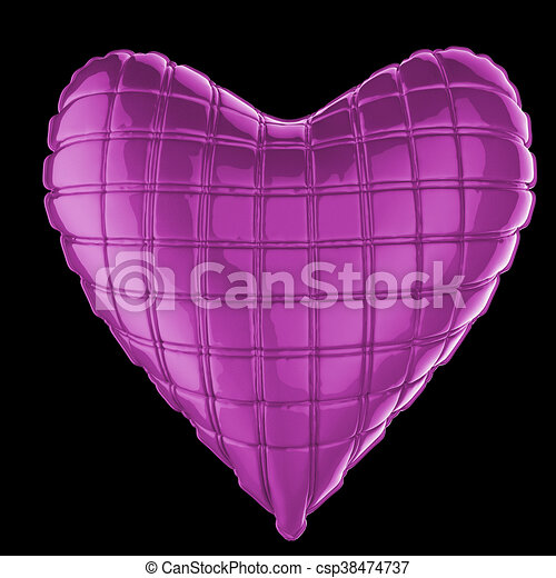 beautiful quilted glossy leather heart shaped pillow. Fashion handmade concept for love, romance, valentines day. rendering, isolated - csp38474737