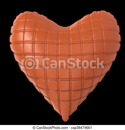 beautiful quilted glossy leather heart shaped pillow. Fashion handmade concept for love, romance, valentines day. rendering, isolated - csp38474661