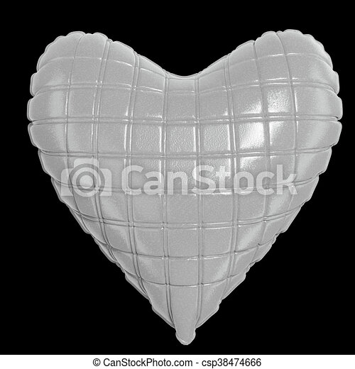 beautiful quilted glossy leather heart shaped pillow. Fashion handmade concept for love, romance, valentines day. rendering, isolated - csp38474666