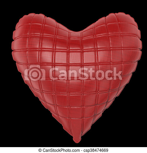 beautiful quilted glossy leather heart shaped pillow. Fashion handmade concept for love, romance, valentines day. rendering, isolated - csp38474669