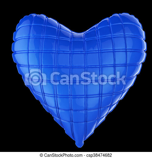 beautiful quilted glossy leather heart shaped pillow. Fashion handmade concept for love, romance, valentines day. rendering, isolated - csp38474682