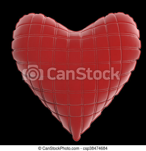 beautiful quilted glossy leather heart shaped pillow. Fashion handmade concept for love, romance, valentines day. rendering, isolated - csp38474684