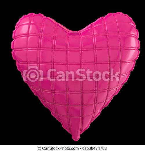 beautiful quilted glossy leather heart shaped pillow. Fashion handmade concept for love, romance, valentines day. rendering, isolated - csp38474783