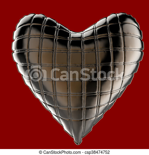 beautiful quilted glossy leather heart shaped pillow. Fashion handmade concept for love, romance, valentines day. rendering, isolated - csp38474752
