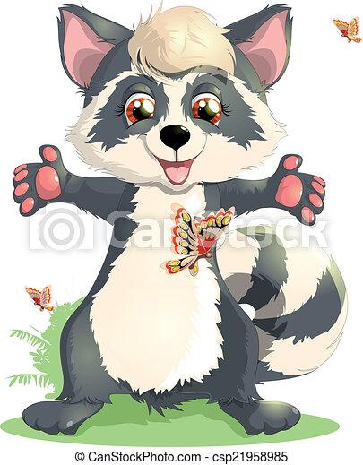 beautiful raccoon - csp21958985