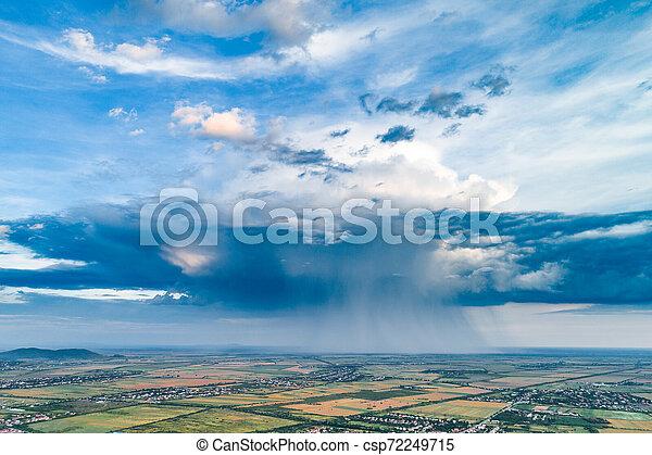 Beautiful Rain Cloud And Rain Over The Fields Aerial Photography