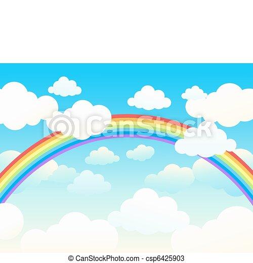 Beautiful rainbow cloudscape. - csp6425903