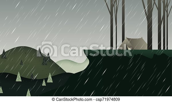 Beautiful rainy scenery landscape, camping tent on the mountain with trees, green tone - csp71974809