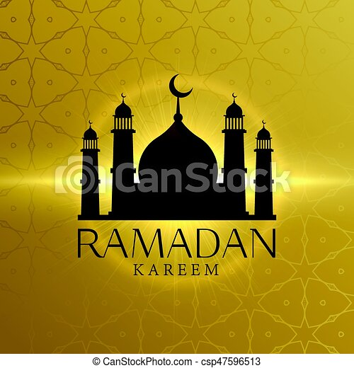 beautiful ramadan kareem background with mosque silhouette - csp47596513