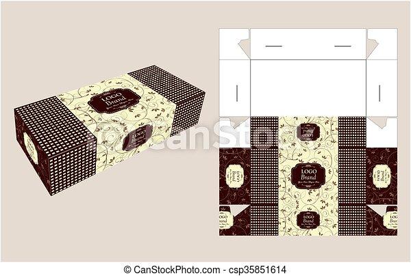 Beautiful rectangle cake box. Cake box template, design, and ...