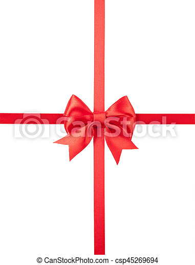 Beautiful red bow isolated on white background. - csp45269694