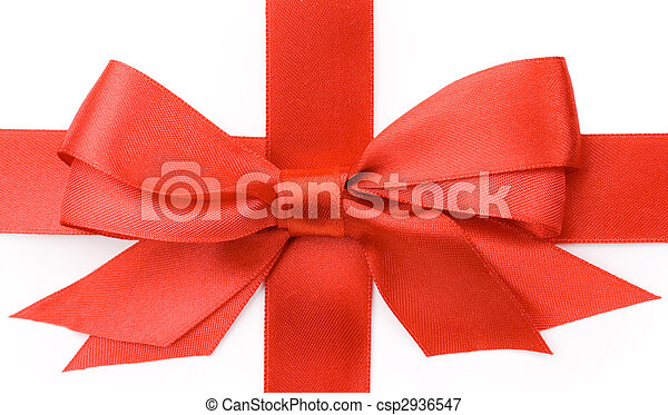 Beautiful red bow on white background - csp2936547