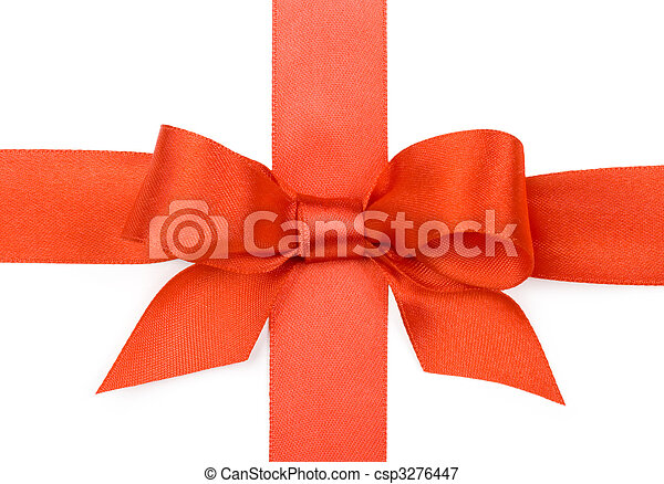 Beautiful red bow on white background - csp3276447