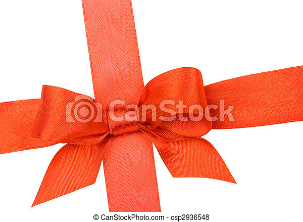 Beautiful red bow on white background - csp2936548