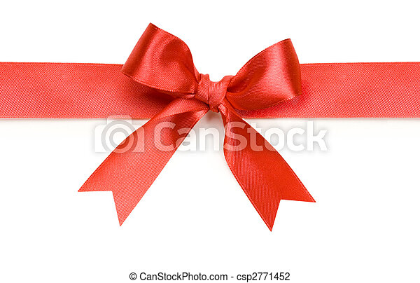 Beautiful red bow on white background - csp2771452