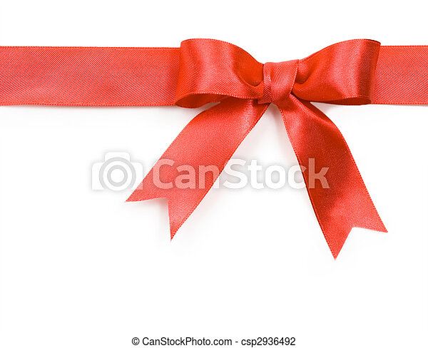 Beautiful red bow on white background - csp2936492