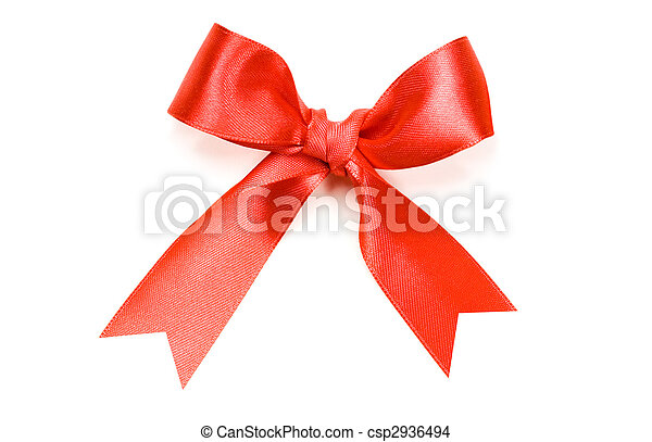 Beautiful red bow on white background - csp2936494