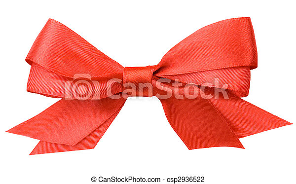 Beautiful red bow on white background - csp2936522