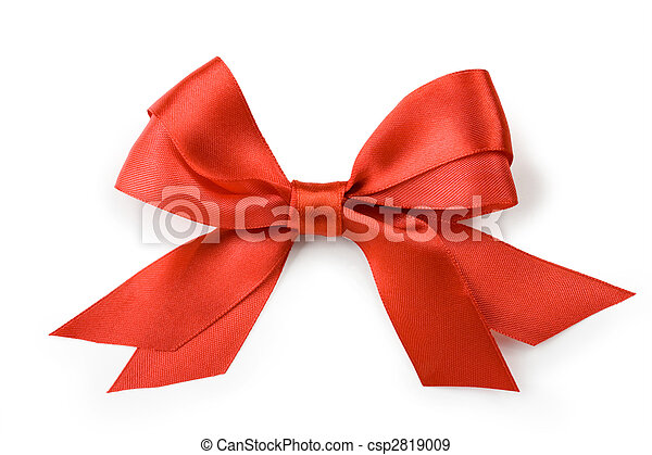 Beautiful red bow on white background - csp2819009