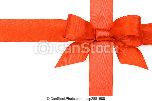 Beautiful red bow on white background - csp2881900