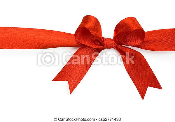 Beautiful red bow on white background - csp2771433