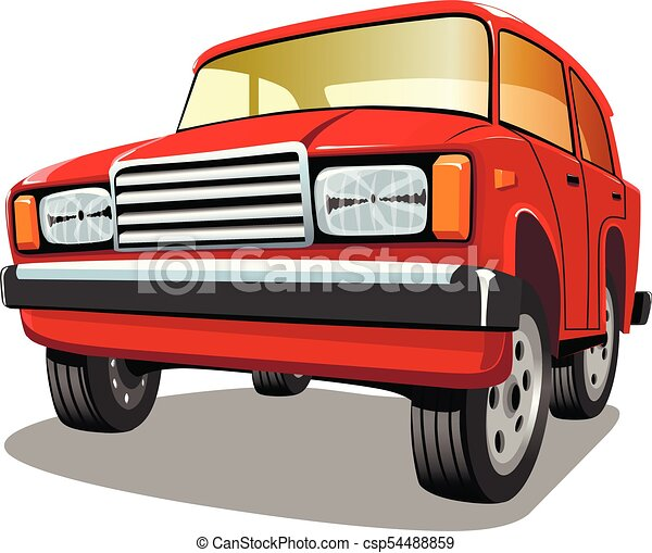 Beautiful red cartoon car on white background, vector illustration. - csp54488859