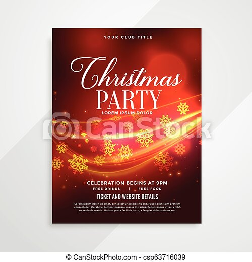beautiful red christmas party flyer with light streak - csp63716039