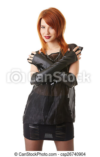 Beautiful red-haired woman in gothic outfit - csp26740904