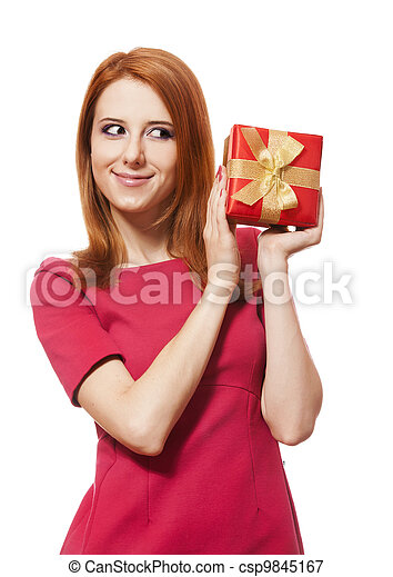 Beautiful red-haired woman with present box. - csp9845167
