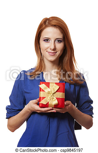 Beautiful red-haired woman with present box. - csp9845197