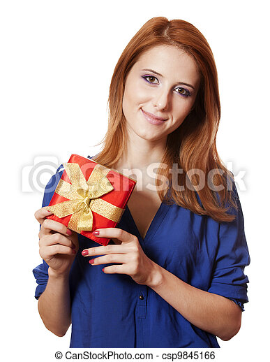 Beautiful red-haired woman with present box. - csp9845166