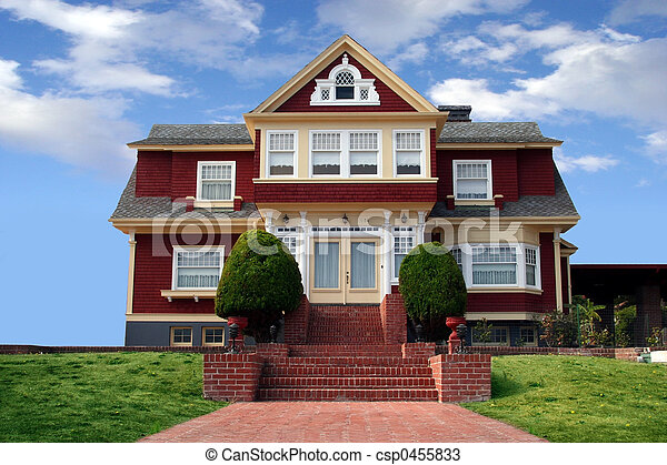 Beautiful red house - csp0455833