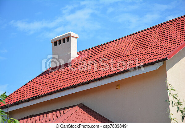Beautiful Red Metal Roof With Roof Gutter Fascia Ventilation And Chimney House Roofing Construction Beautiful Red Metal