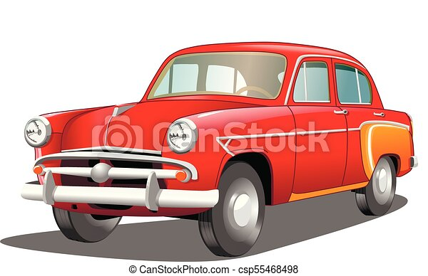 Beautiful red retro car on white background, vector illustration - csp55468498